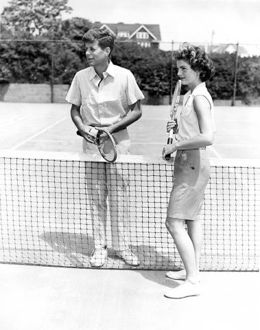 KFC3049P John F. Kennedy and Jacqueline Bouvier Play Tennis during Engagement Weekend