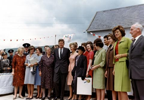 ST-C232-9-63 President Kennedy and sisters Eunice and Jean visit cousins at the Kennedy Ancestral Homestead, Dunganstown, County Wexford, Ireland