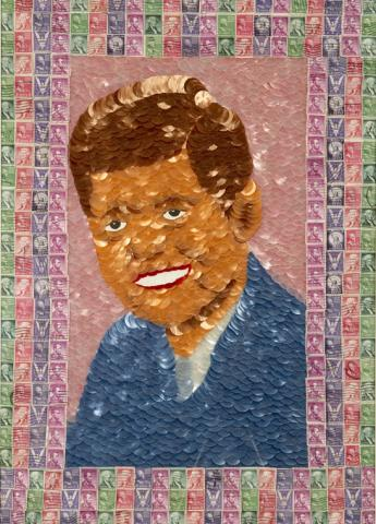 Ribbon and Stamp Portrait of John F. Kennedy