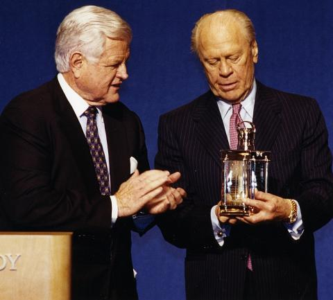 NLJFK2001-C17K:22 (crop) 2001 Profile in Courage Award recipient President Gerald Ford with Senator Edward M. Kennedy, May 21, 2001.