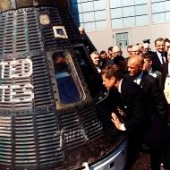 President Kennedy inspects Mercury capsule, 23 February 1962