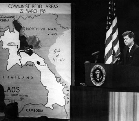 President Kennedy's News Conference of 23 March 1961, with map illustrating Communist Rebel Areas in Laos.