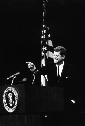 AR7595B President Kennedy at a news conference.