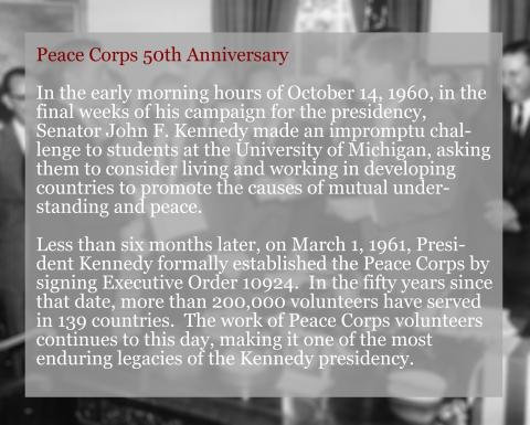 Peace Corps 50th Anniversary Documents Intro