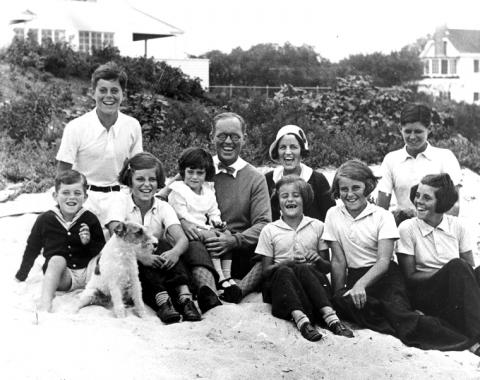 The Kennedy family on beach, Hyannis Port, Massachusetts, 1931.