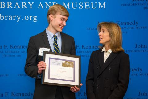 2018 Profile in Courage Student Essay Contest Winner Jeffrey Seaman with Amb. Caroline Kennedy