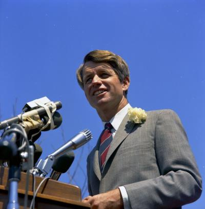 SWPC-RFK-C004-003 Senator Robert F. Kennedy addresses a crowd at San Fernando Valley State College, California during his 1968 presidential campaign.