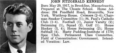 FY P30: John F. Kennedy's Harvard College Yearbook Entry, 1940