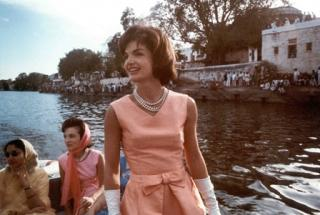 Mrs. Kennedy on a boat cruise on Lake Pichola, Udaipur, India, 17 March 1962.