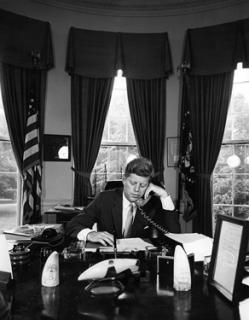 President Kennedy addresses AMVETS by telephone from the Oval Office, 23 August 1962