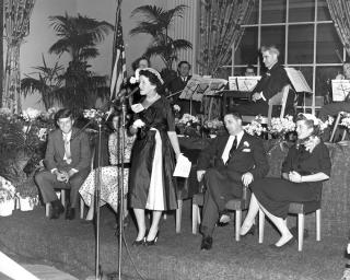 Rose Kennedy speaks at a Tea, 1952