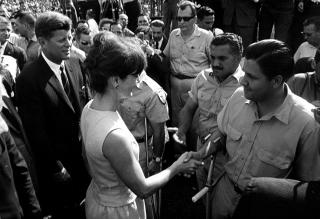 President and Mrs. Kennedy greet members of the 2506 Cuban Invasion Brigade at the Orange Bowl, 29 December 1962